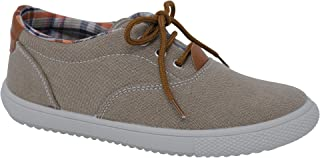 StepIntrend Vulladi SAR Fashion Sneakers Boys Camel, Lace-up with Non-Skid Sole and Leather Insert.