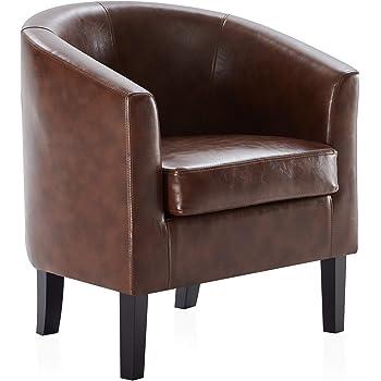 BELLEZE Upholstered Barrel Chair Tub Club Armrest Faux Leather Living Room, Caramel
