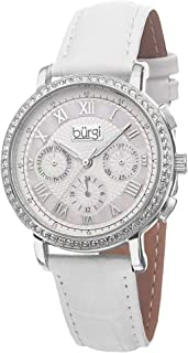 Women's Malfunction Crystal Watch - 3 Subdials for Day, Date and GMT - Sparkling Crystal on Bezel On Embossed Alligator Pattern Leather - BUR087