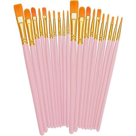 15 pcs Artist Paint Brushes Set Acrylic Oil Watercolours Painting Craft Art Pink