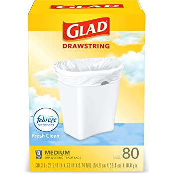 Glad Medium Kitchen Drawstring Trash Bags 8 Gallon White Trash Bag, Fresh Clean Scent, 80 Count (Package May Vary)