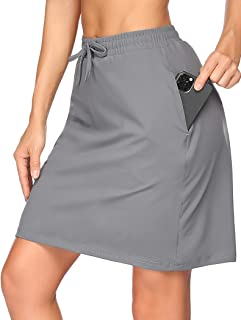 COOrun Athletic Skorts Skirts for Women Stretchy Knee Length Tennis Skirts Built in Shorts