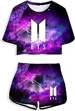 YJQ Women's 2019 BTS Crop Top and Shorts Set Bangtan Boys T-Shirt and Shorts JIN SUGA Jimin V Jungkook JHOPE