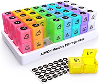 AUVON Monthly Pill Organizer (2 Times a Day), 30 Day One Month Pill Box Case with 31 Removable XL AM PM Compartments to Ho...