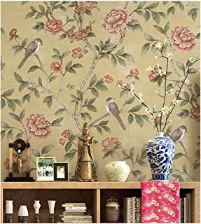 Blooming Wall Vintage Fresh Peony Birds Floral Wallpaper Wall Mural for Livingroom Bedroom Kitchen Bathroom, 20.8 In32.8 Ft=57 Sq.ft,Multicolor (4602)