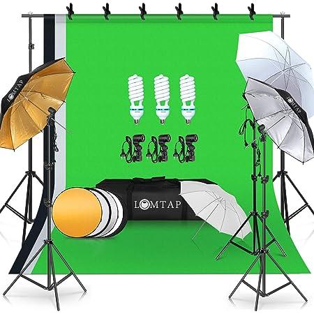 LOMTAP 撮影キット アンブレラセット 写真撮影照明キット 背景スタンド 半透明白いアンブレラ/黒銀傘/黒金傘 85W電球 背景布(白、黒、緑) 写真用リフレクター 稳定三脚 スタジオ撮影用 写真撮影用 ビデオ録画用 セットアップが簡単 キャリングバッグ付き
