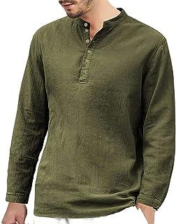 Halfword Mens Linen Cotton Henley Shirts Casual Long Sleeve Grandad Pullover Button V-Neck Beach Tshirts