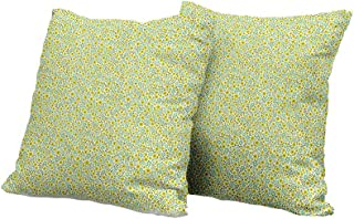 All of better Toddler Pillowcase Green,Doodle Style Cute Kids Girls Pattern with Daisy Flower Blooms,Olive Green Light Green Turquoise IKEA Pillow Covers 18x18 INCH 2pcs