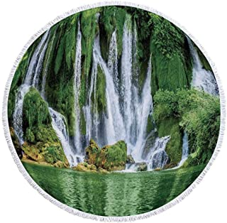 YOLIYANA Waterfall Printing Round Beach Towel,Moss Greenery Reflection on River Landmark in Bosnia and Herzegovina Picture for Beach Blanket Table Cloth Picnic Mat,59.1