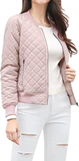 Women's Raglan Long Sleeves Quilted Zip Up Bomber Jacket