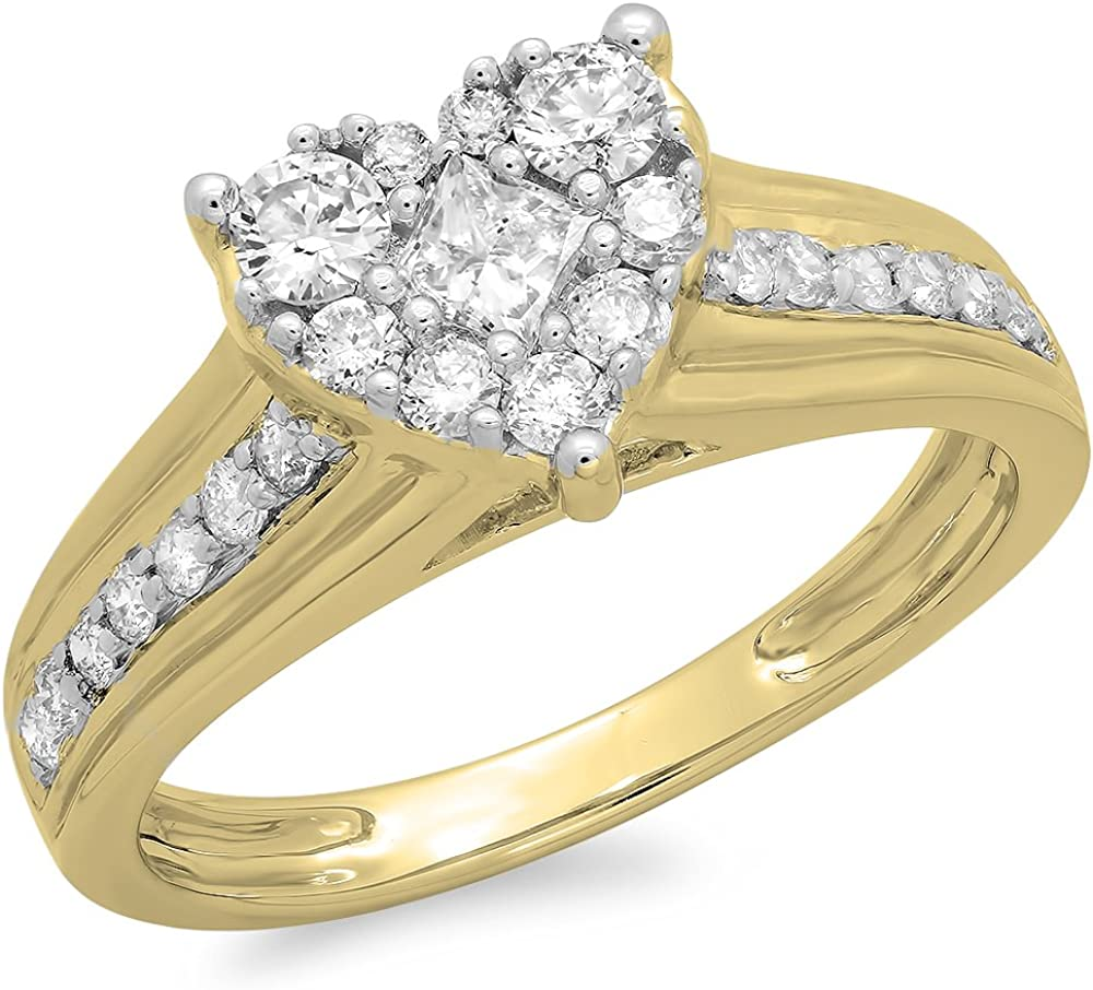 Dazzlingrock Collection 0.70 Carat (ctw) 18K Gold Princess & Round Diamond Bridal Heart Shaped Promise Engagement Ring 3/4 CT