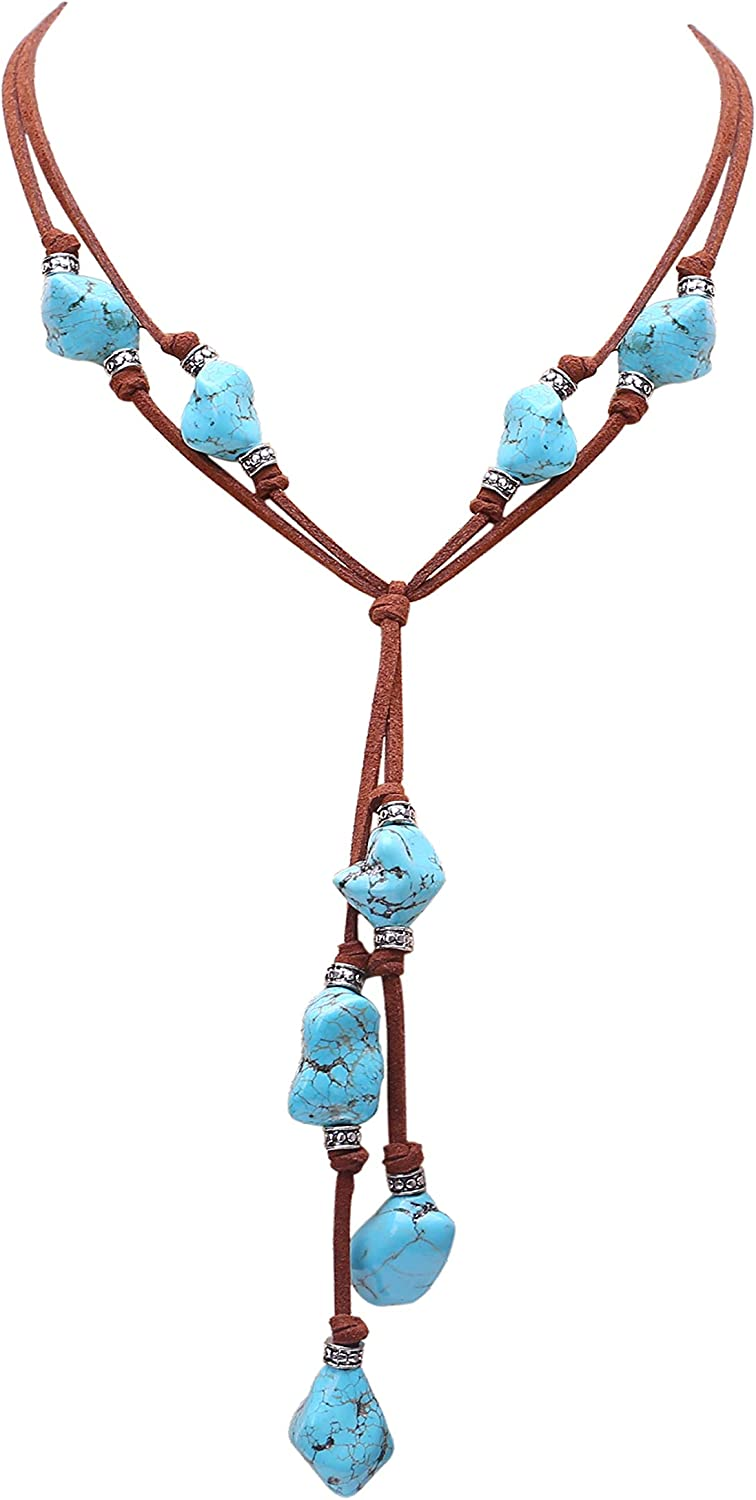 Yunhan Pearls 2 Strands Genuine Suede Cord Turquoise Choker Necklace Magnetic Clasp Jewelry for Women