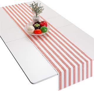 mookaitedecor Orange Striped Table Runner Cotton Linen Runners for Wedding Party Dinner & Everyday Use, 13 x 70 Inch