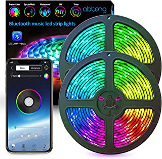 LED Strip Lights Music Abtong Color Chasing LED Lights Strip RGB 10M 32.8ft Dreamcolor Strip Lights with APP Rope Lights Waterproof LED Strip Kit Rainbow Led Lights for Home Indoor&Outdoor Decoration