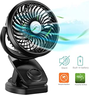COMLIFE Portable Fan F150, USB Desk Fan with Rechargeable 4400 mAh Battery,Mini Clip on Fan with Powerbank &Aroma Diffuser Function,Stepless Speeds, Ideal for Stroller, Camping, Office, Outdoor,Travel