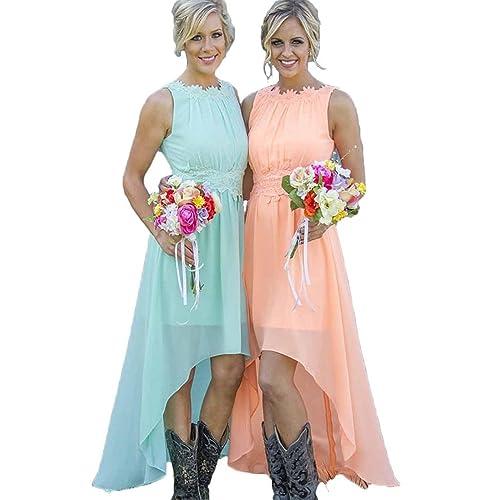 Ruiyuhong Women s High Low Lace Chiffon Mint Orange Beach Bridesmaid Dress  LH89 f9947cfc17