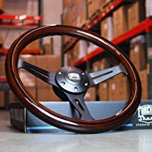 14 Inch (350mm) Black Steering Wheel with Dark Wood Grip 6 Hole Classic Chevy