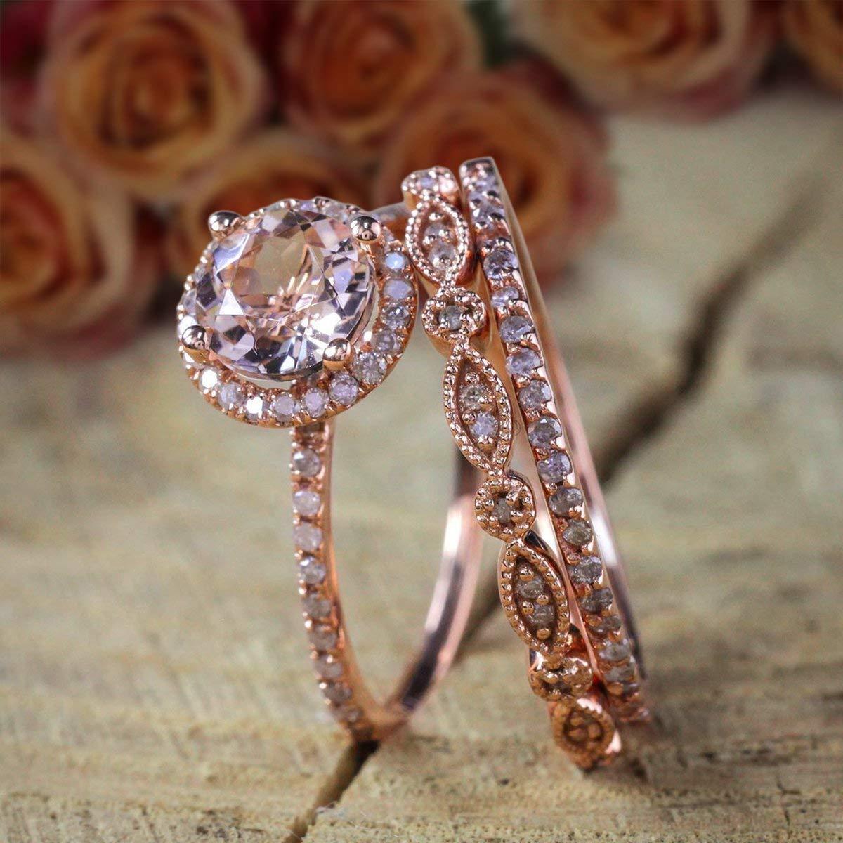 2 carat Morganite Diamond Atlanta Mall Trio Set Ring cheap Engagement Halo 1