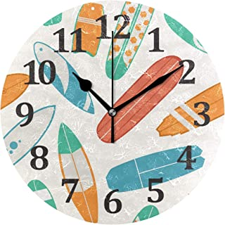 Blueangle Surfboard Pattern Wall Clock, Silent Non Ticking - 10 Inch Quality Quartz Battery Operated Round Modern Home/Office/School Clock