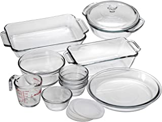 Anchor Hocking Oven Basics 15-Piece Glass Bakeware Set with Casserole Dish, Pie Plate, Measuring Cup, Mixing Bowl, and Custard Cups with Lids - 82210OBL5