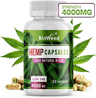 Maximum Strength Hemp Oil Capsules | 4000mg per Bottle | Zero THC | Relieves Pain + Stress + Anxiety + Insomnia & More | 30 Capsules
