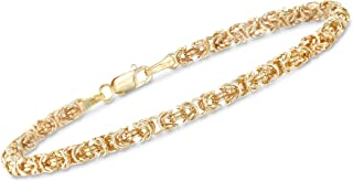 Ross-Simons Italian 14kt Yellow Gold Byzantine Bracelet With Rolled Edges