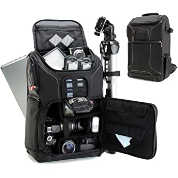 USA GEAR DSLR Camera Backpack Case (Black) - 15.6 inch Laptop Compartment, Padded Custom Dividers, Tripod Holder, Rain Cover, Long-Lasting Durability and Storage Pockets - Compatible with Many DSLRs