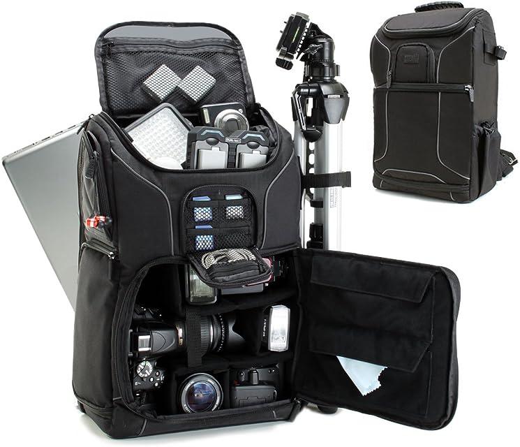 Mochila Cámara de Fotos Reflex DSLR USA Gear Funda Resistente al Agua. Compartimento para Portátil y divisores para Meter un DroneTripode Accesorios Objetivos