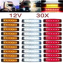Yuk 30pcs 12/24V 6LED rojo + blanco + amarillo camión remolque camión de marcador lateral Indicadores Luces marcador de cabina