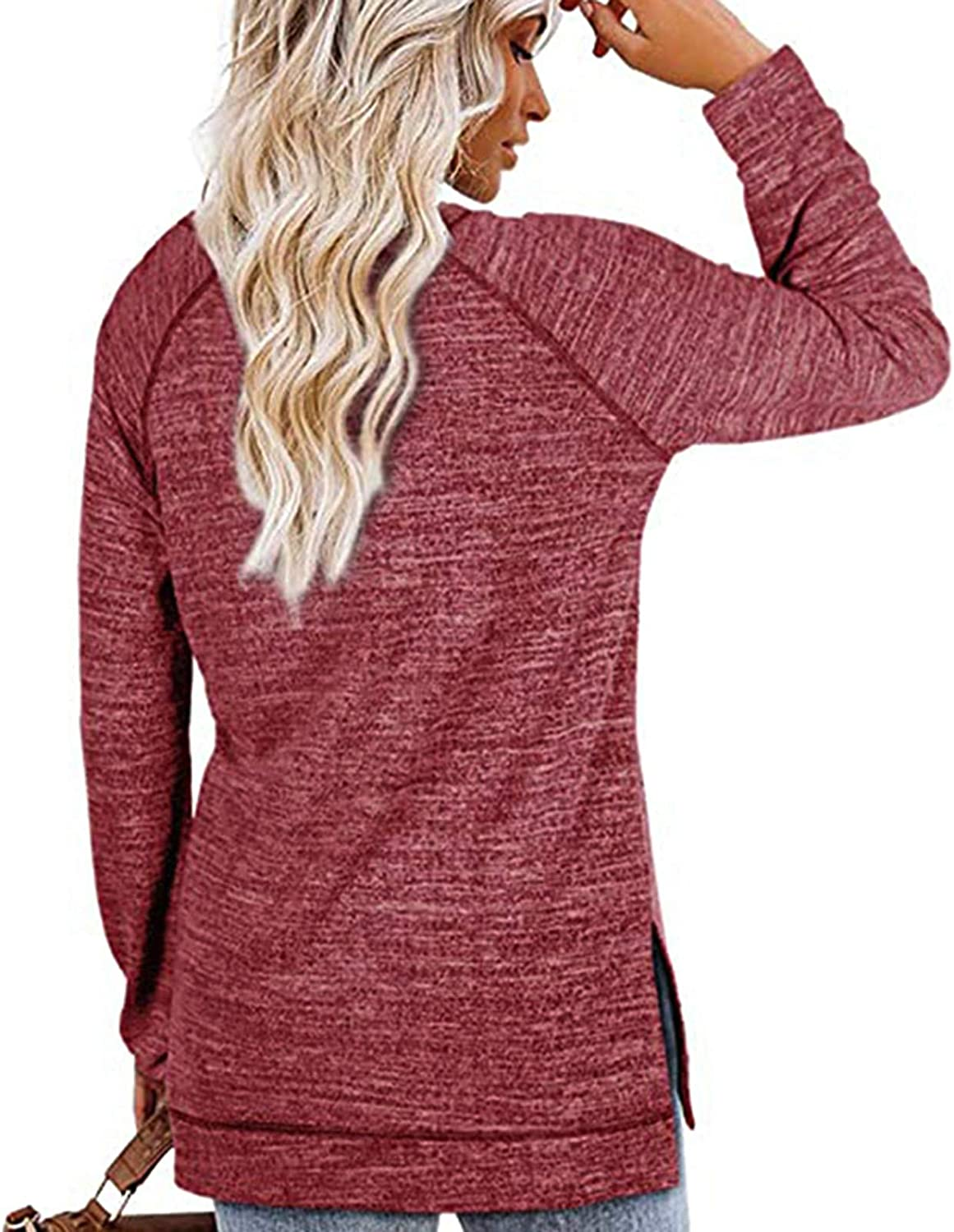 AODONG Womens Long Sleeve Tops,Womens Casual Round Neck Oversized Sweatshirts Tunic Tops