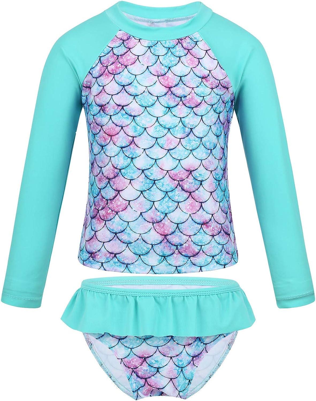 JanJean Little Girls Swimsuit Long Sleeve Two Piece Rash Guard Shirt UPF 50+ Fish Scales Swimwear Sun Protection