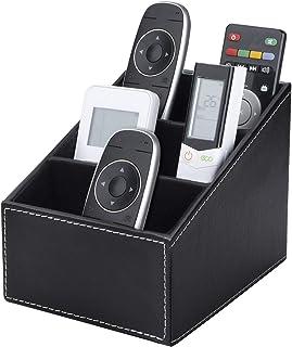TV Boîte de Rangement pour Télécommande avec 3 Compartiments, PU Cuir Organisateur Contrôleurs, Organiseur pour Lunettes p...