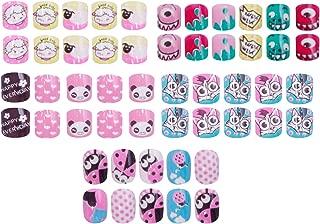 Laza 120pcs Children Nails Press On Pre-glue Full Cover Glitter Gradient Color Rainbow Sparkling Scale Wave AquariusShort False Nail Kits for Kids Teenager Girls - Cartoon Childlike