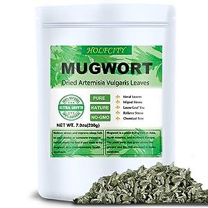 Dried Mugwort Leaves, 7.0oz(200g), Mugwort Leaf, Natural Artemisia Vulgaris Herb Loose Herb Leaves