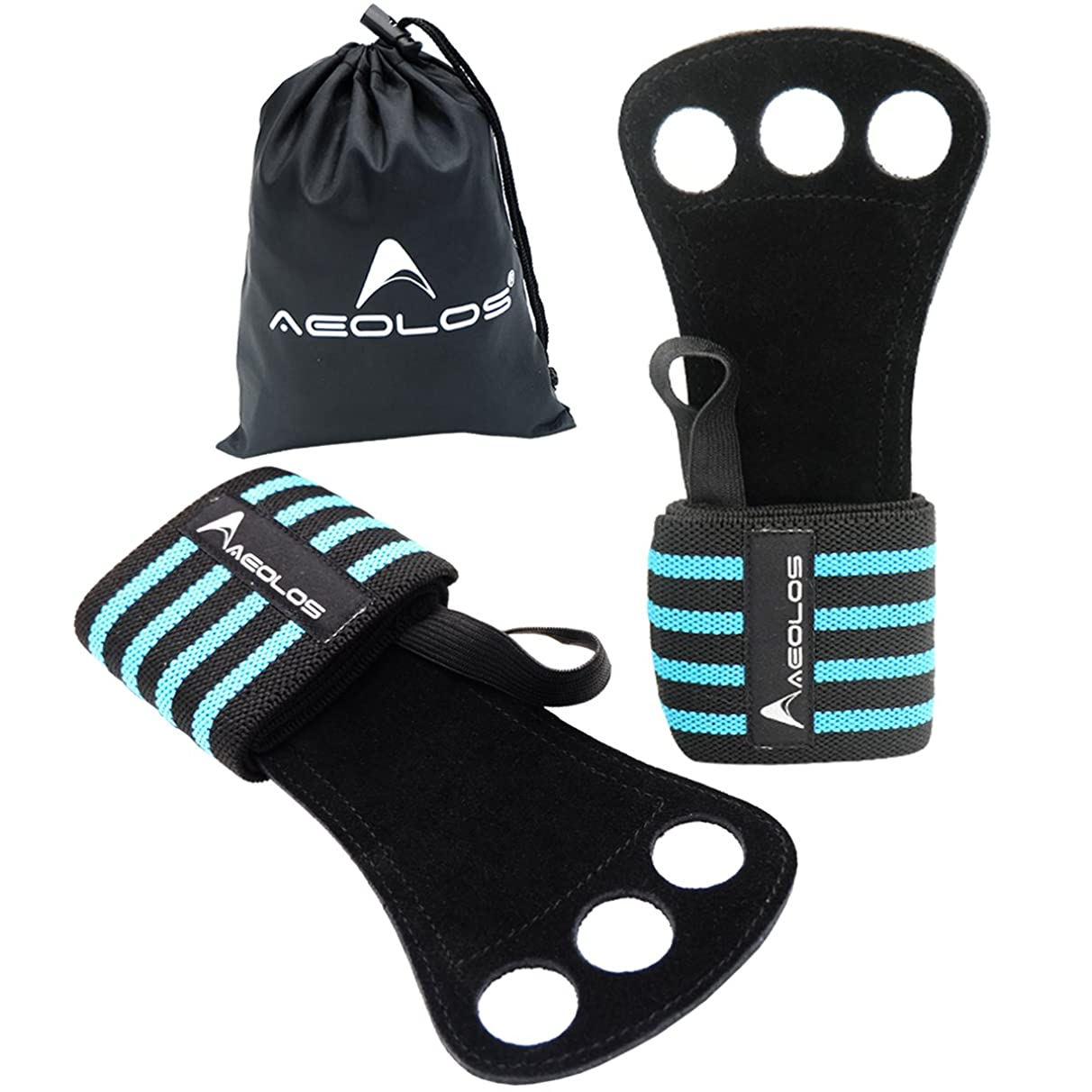 AEOLOS Gymnastics Hand Grips/Crossfit Gloves with Wrist Wrap Support -Perfect for WODs,Pull up,Power Weight Lifting,Kettlebells and Gym Workout