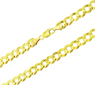 """Men's 14k Yellow Gold Solid 10mm Curb Cuban Chain Necklace, 24""""- 30"""""""