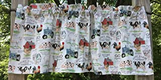 Farm Animals Country Valance Tractor Red Barn Cow Chicken Rooster Pig Dairy Cows Curtain Valance