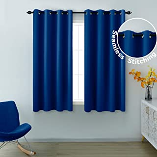 KOUFALL Blue Curtains 45 Inch Length for Boys Bedroom 2 Panels Grommet Window Blackout Drapes Small Insulated Thermal Short Room Darkening Curtains for Kids Room Bathroom 52 x 45 Inch Length