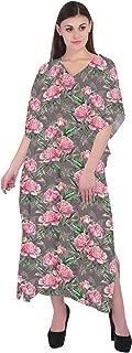 RADANYA Women Summer Kaftan Floral Loose Long Maxi Dress Cotton Caftan