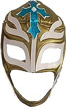 Rey Misterio Lucha Libre Mexicana Luchador Mexican Wrestling Mask Costume Adult Size, Golden, One Size - Mascara De Lucha Libre Dorada Cruz Turquesa