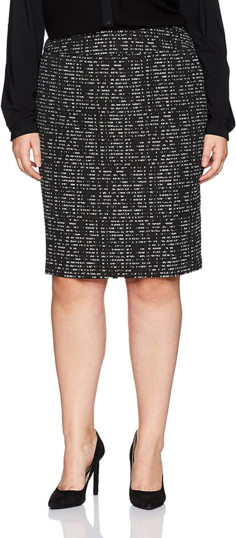 NINE WEST Women's Plus-Size Plus Size Jacquard Slim Skirt, Black/White, 22W