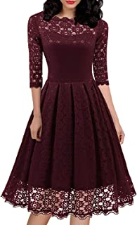 595 Women's 1950s Vintage Floral Lace 3/4 Sleeve Boat Neck Cocktail Party Swing Dress (Burgundy, XL)