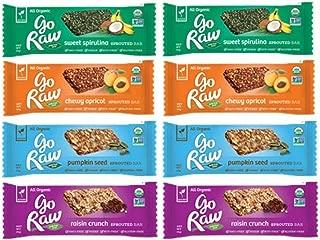 Go Raw Organic Gluten-Free Sprouted Small Bars 4 Flavor Sampler Bundle: (2) Sweet Spirulina Bars, (2) Go Raw Raisin Crunch Bars, (2) Chewy Apricot Bars, & (2) Pumpkin Seed Bars, .5-.4 Oz Ea (8 Bars)