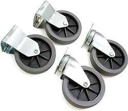 Design61 Set van 4 bokwielen, zwenkwielen, bokwielen, gereedschapswielen zonder vergrendeling, Ø100, hoogte 125 mm