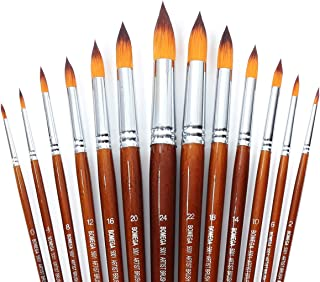 13 Pcs Long Handle Pointed Round Large Paint Brushes Set with Premium Quality Synthetic Sable Hair for Acrylic Watercolor Oil Gouache Painting by Art Students, Professionals and Artists