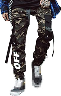 MOKEWEN Men's Camouflage Buckle Straps Zipper Ankle Band Casual Cargo Pants with Pocket