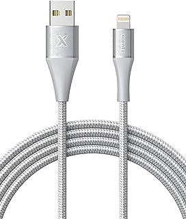 Xcentz iphone 充電ケーブル ライトニングケーブル【Apple MFi認証 / 1.8M / シルバー】急速充電 データ転送 高耐久ナイロン素材 アルミコネクタ iPhone/iPad/iPod 各種対応(永久保証付)