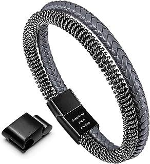murtoo MensBraceletLeatherand StainlessSteel with Magnetic Clasp, MultipleBraided Bracelet, BrownBlackSteelChainB...