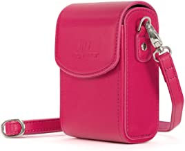 MegaGear Leather Camera Case with Strap compatible with Canon PowerShot G7 X Mark III, G7 X Mark II, G7 X - MG1255, Hot Pink