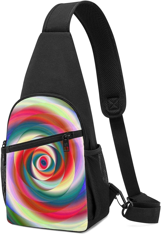 BMAZI Max 72% OFF Chest New mail order Shoulder Backpack Colorful Du Fractal Ellipse Spiral